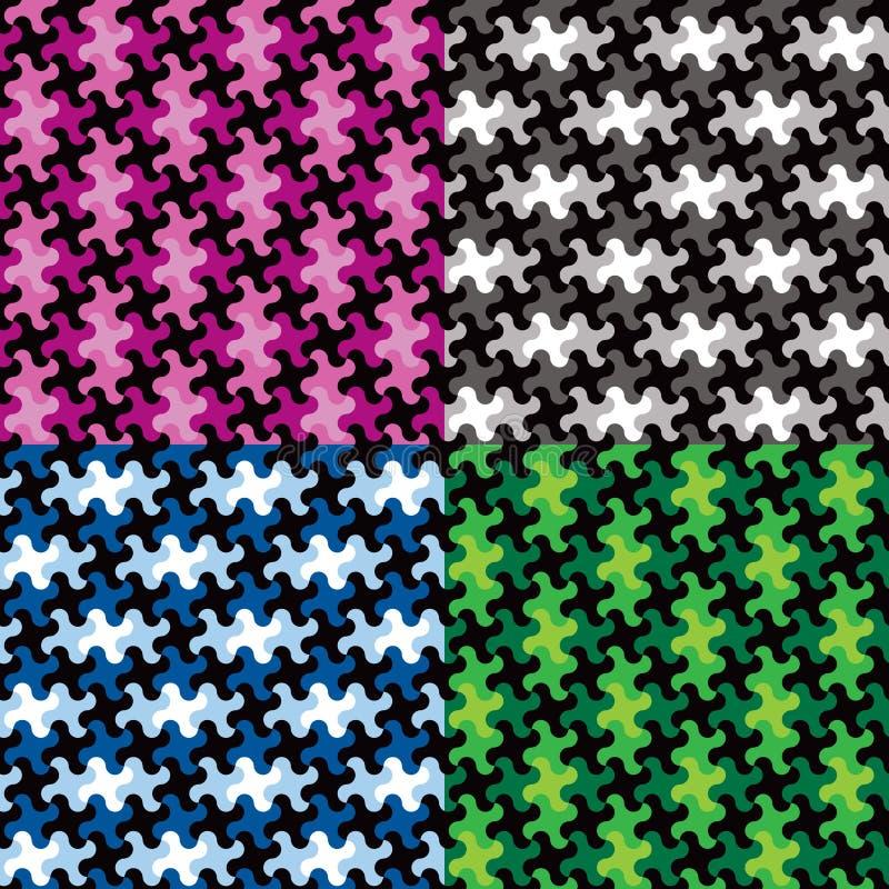 Modèles de morceau de puzzle dans quatre Colorways illustration stock