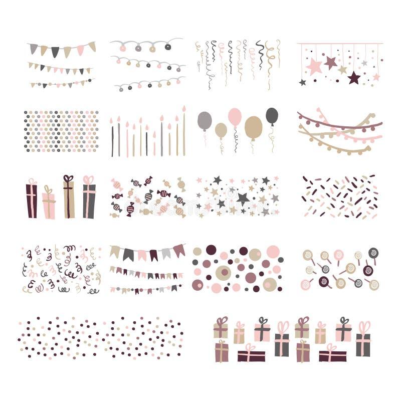 Modèles de partie Ensemble de vecteur d'étamine tirée par la main de griffonnage illustration stock