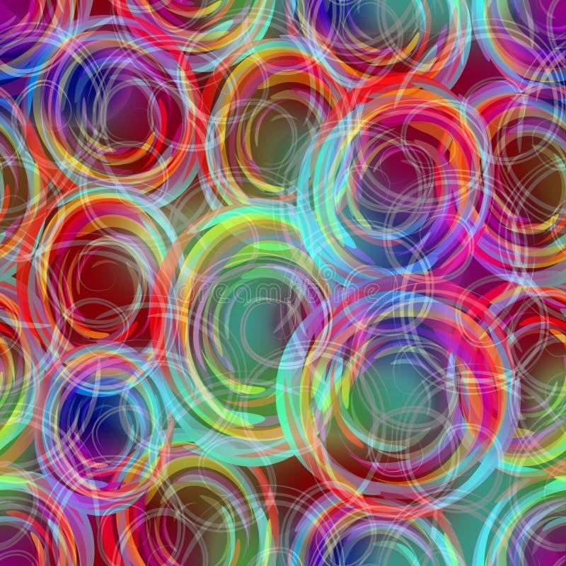 Modèles de recouvrement semi-transparents troubles de cercle dans les couleurs d'arc-en-ciel, fond abstrait moderne dans des coul illustration de vecteur