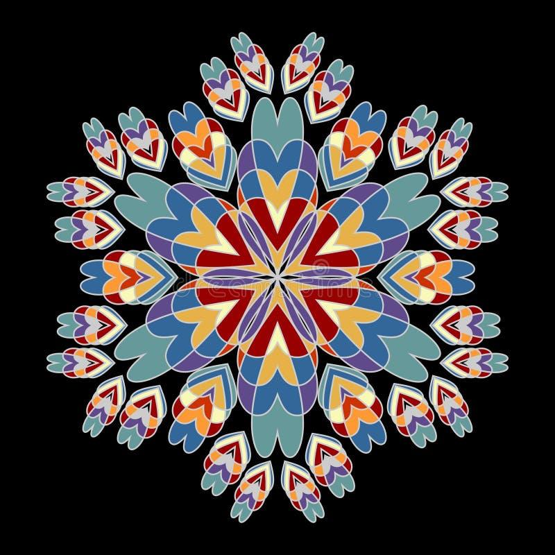 Modèles de rosette dans de rétros couleurs nostalgiques Rosette symétrique de vintage sur le fond noir illustration libre de droits