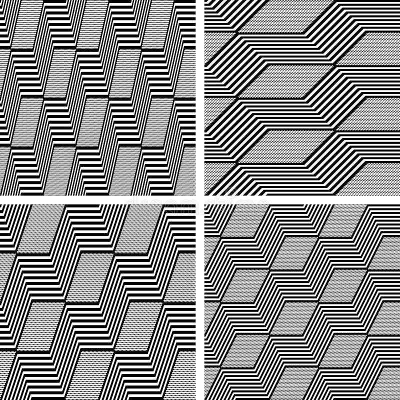Modèles de zigzag Textures sans couture réglées illustration stock