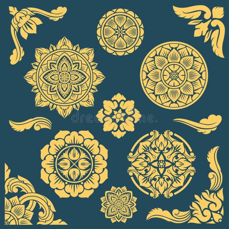 Modèles et cadres décoratifs ethniques thaïlandais, indiens et persans de vecteur illustration stock