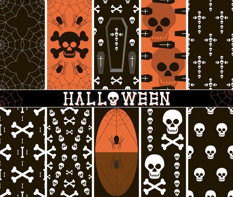 10 modèles fantasmagoriques sans couture de Halloween illustration stock