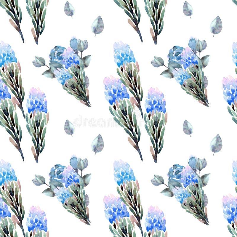 Modèles floraux d'aquarelle sans couture de dessin de main avec le bleu, les feuilles, les branches, l'eucalyptus et les fleurs d photos libres de droits
