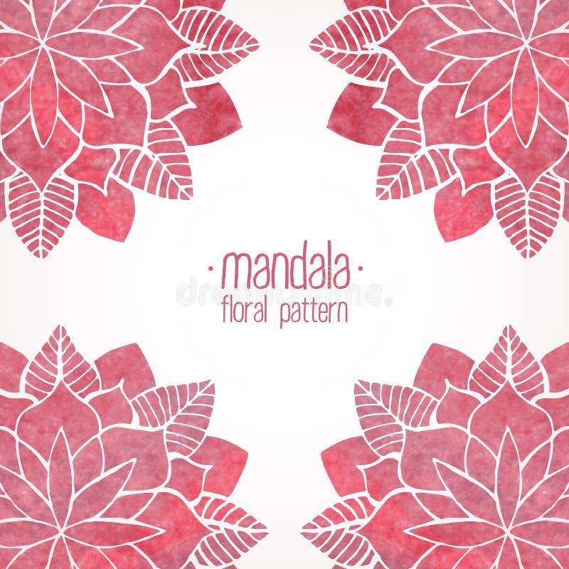 Modèles floraux de dentelle rose d'aquarelle sur le fond blanc Vecteur illustration libre de droits