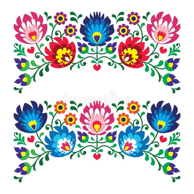 Modèles folkloriques floraux polonais de broderie pour la carte illustration stock