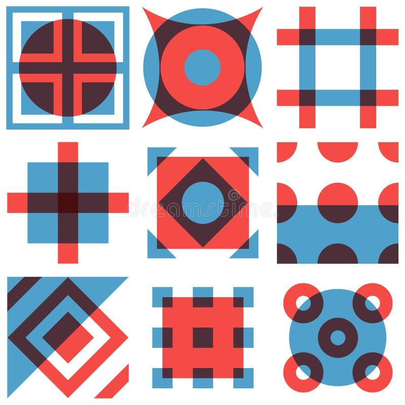 Modèles géométriques de formes réglés illustration de vecteur