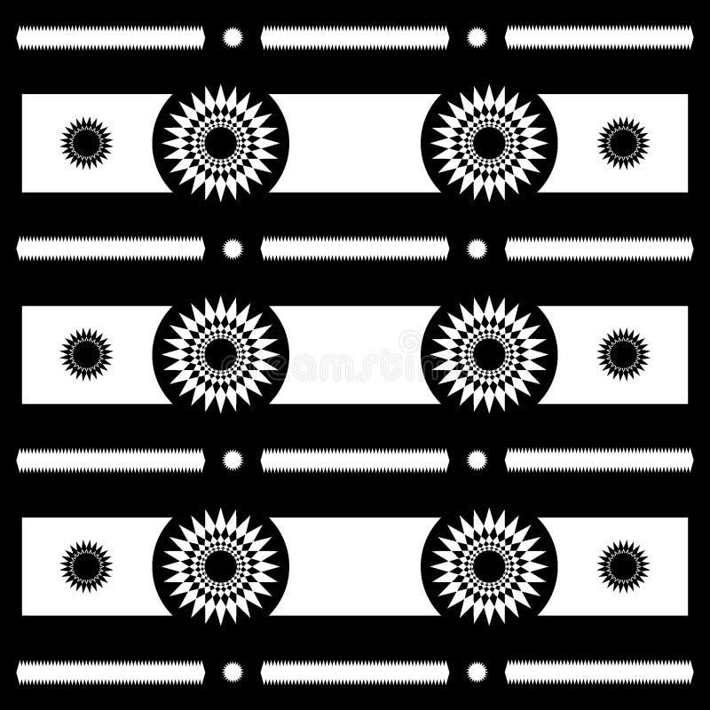 Modèles géométriques de motif abstrait de Sun en noir et blanc, vecteur photographie stock libre de droits