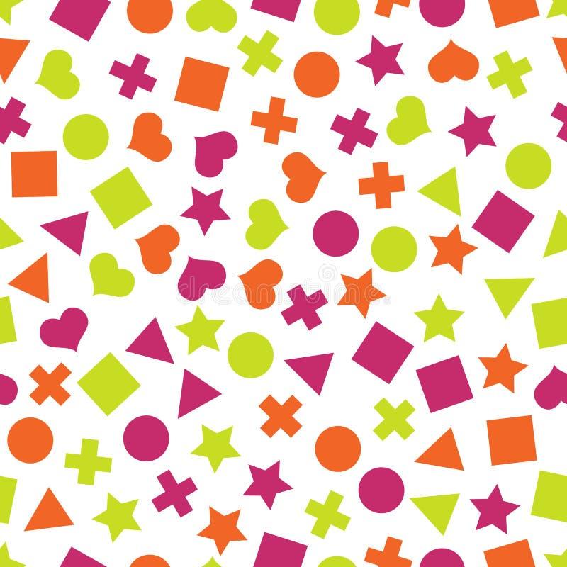 Modèles géométriques primitifs sans couture avec des places, des triangles, des cercles, des étoiles et des coeurs pour le tissu  illustration de vecteur