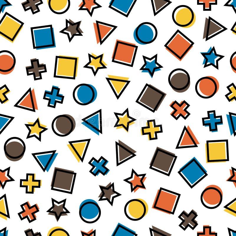 Modèles géométriques primitifs sans couture pour le tissu et les cartes postales illustration stock
