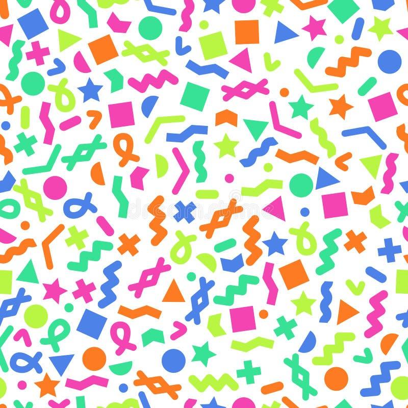 Modèles géométriques primitifs sans couture pour le tissu et les cartes postales Fond moderne de couleur de hippies à la mode illustration stock