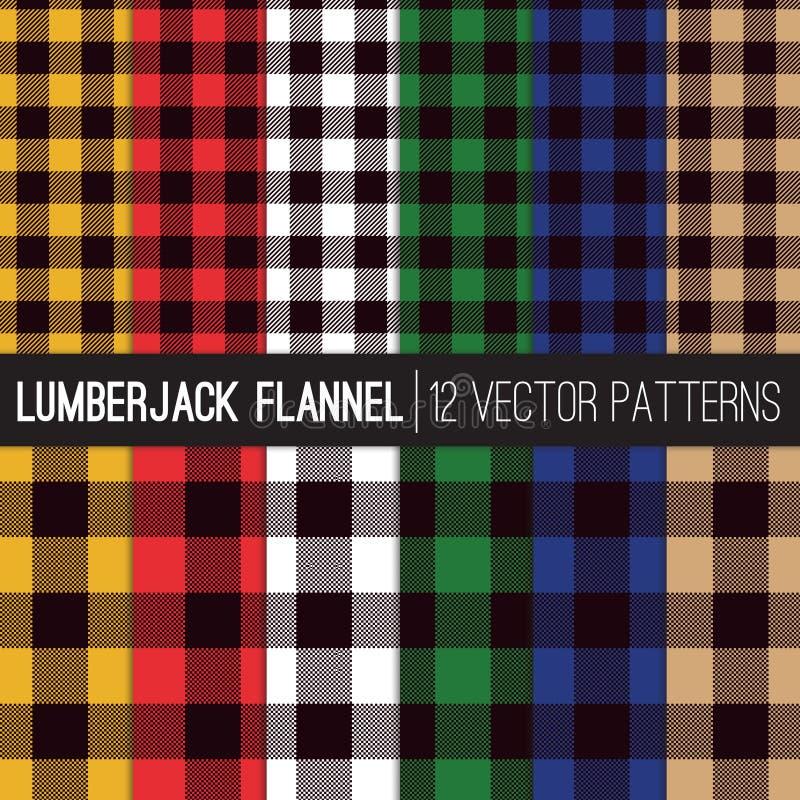 Modèles multicolores de vecteur de Flannel Shirt Plaid de bûcheron illustration stock
