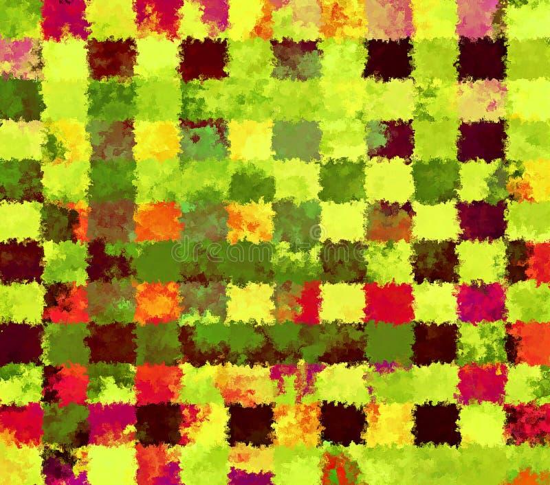 Modèles rectangulaires abstraits chaotiques de peinture d'éclaboussure de peinture de Digital à l'arrière-plan vif de couleur ver illustration libre de droits