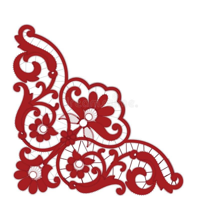Modèles rouges de broderie de Richelieu sur le fond blanc illustration stock