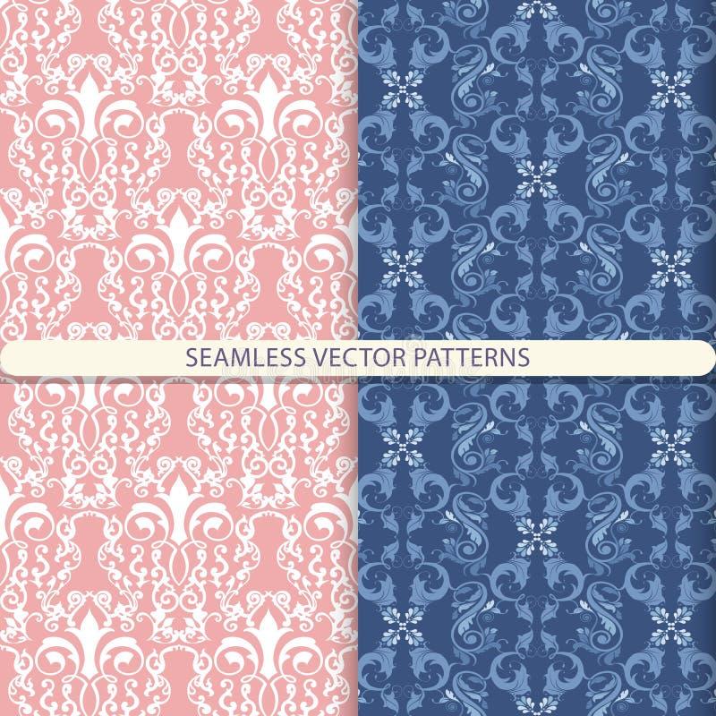 Modèles sans couture abstraits de vecteur avec les éléments blancs, bleus, bleus d'ornement sur le fond bleu et rouge-clair Copie illustration de vecteur