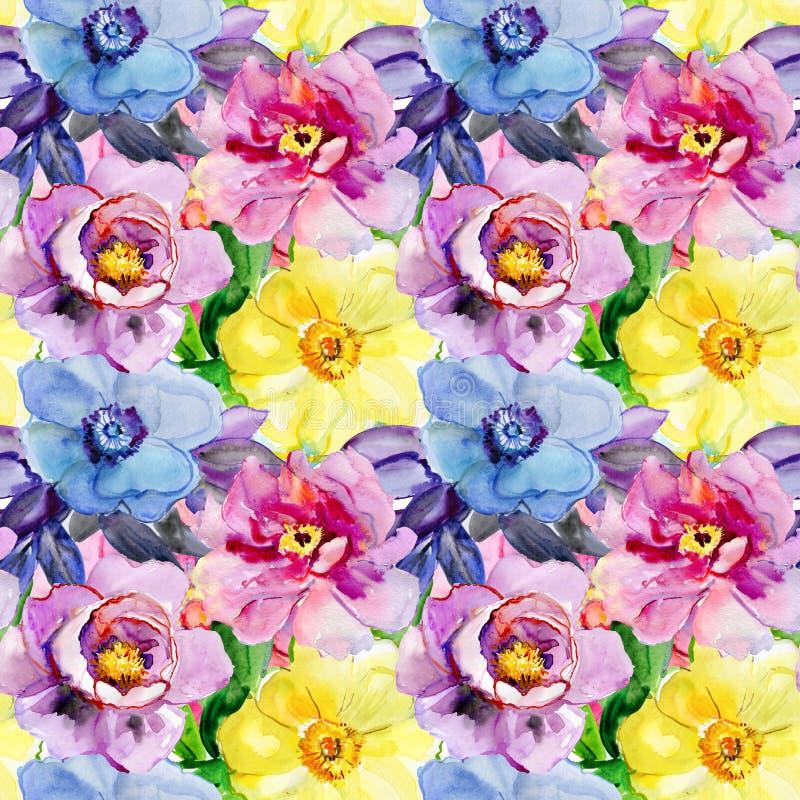 Modèles sans couture avec de belles fleurs illustration de vecteur