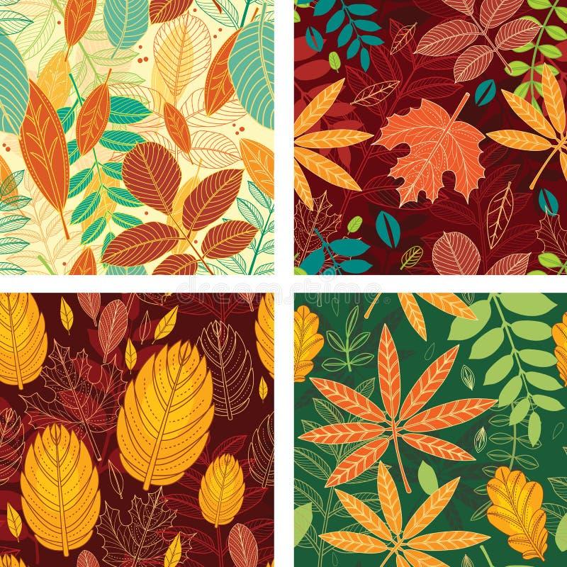 Modèles sans couture avec des feuilles d'automne illustration de vecteur