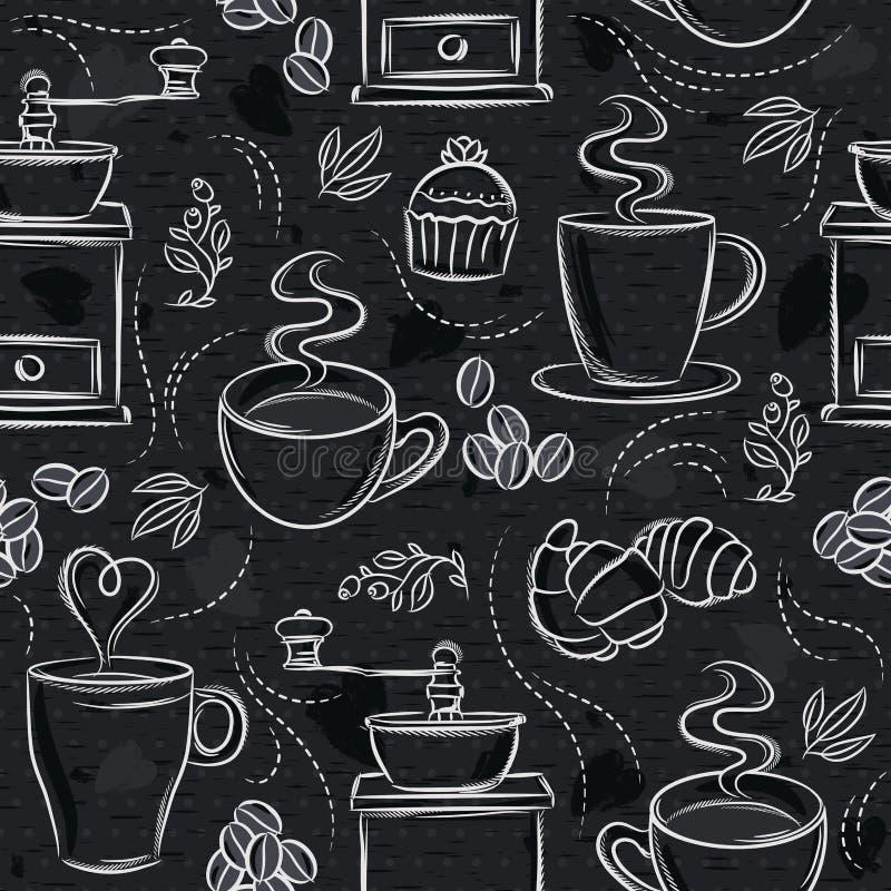 Mod?les sans couture avec l'ensemble de caf?, la tasse, le coeur, le moulin ? caf? et le texte sur le tableau noir Id?al pour imp illustration stock