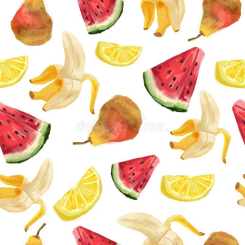 Modèles sans couture avec le fruit Type d'aquarelle illustration de vecteur