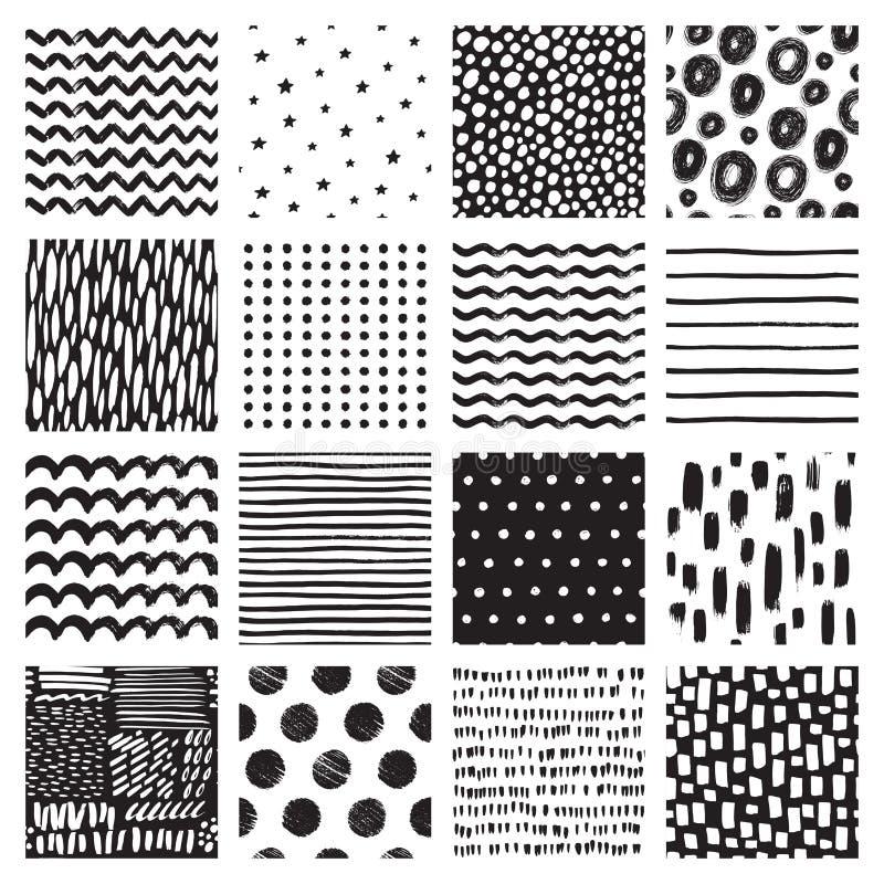 Modèles sans couture avec le griffonnage et la tache tirés par la main Fond abstrait noir et blanc Texture de vecteur photos stock