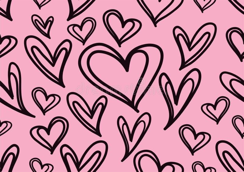 Modèles sans couture avec les coeurs noirs, fond d'amour, vecteur de forme de coeur, jour de valentines, texture, tissu, papier p illustration de vecteur