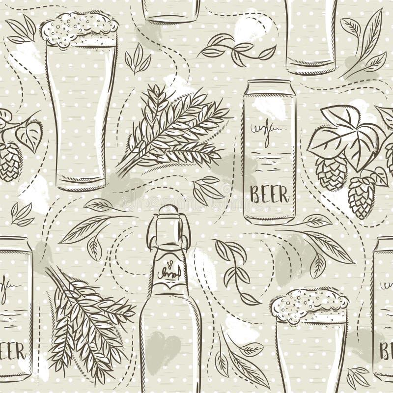 Modèles sans couture beiges avec l'ensemble de bouteille à bière, de tasse, d'orge et d'houblon Id?al pour imprimer sur la r?serv illustration libre de droits