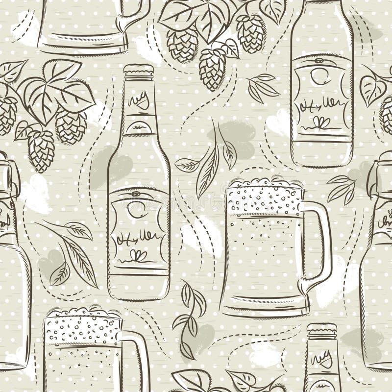 Modèles sans couture beiges avec l'ensemble de bouteille, de tasse et d'houblon à bière Id?al pour imprimer sur la r?servation de illustration de vecteur