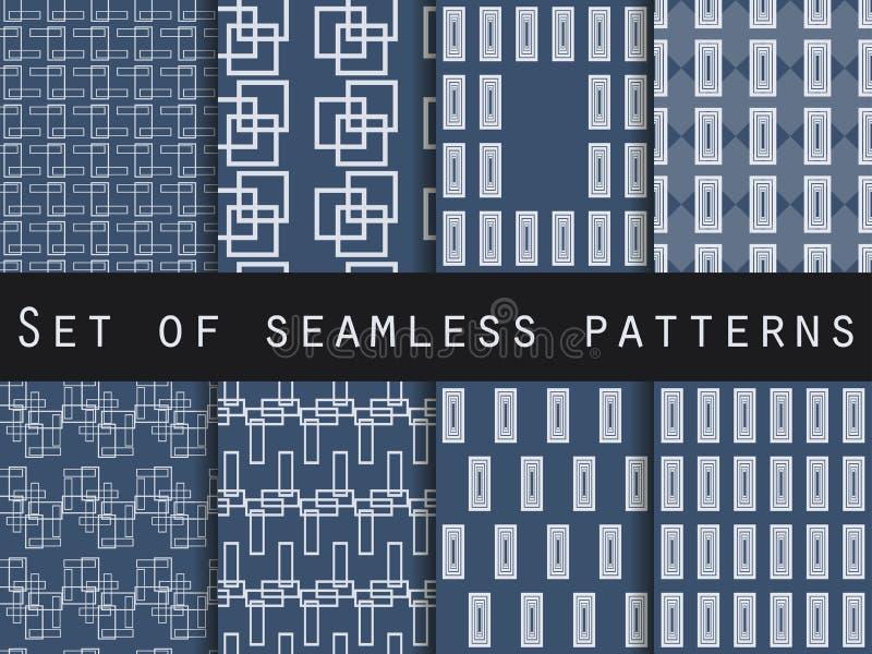 Modèles sans couture bleus et blancs Configurations géométriques Illustration de vecteur illustration libre de droits