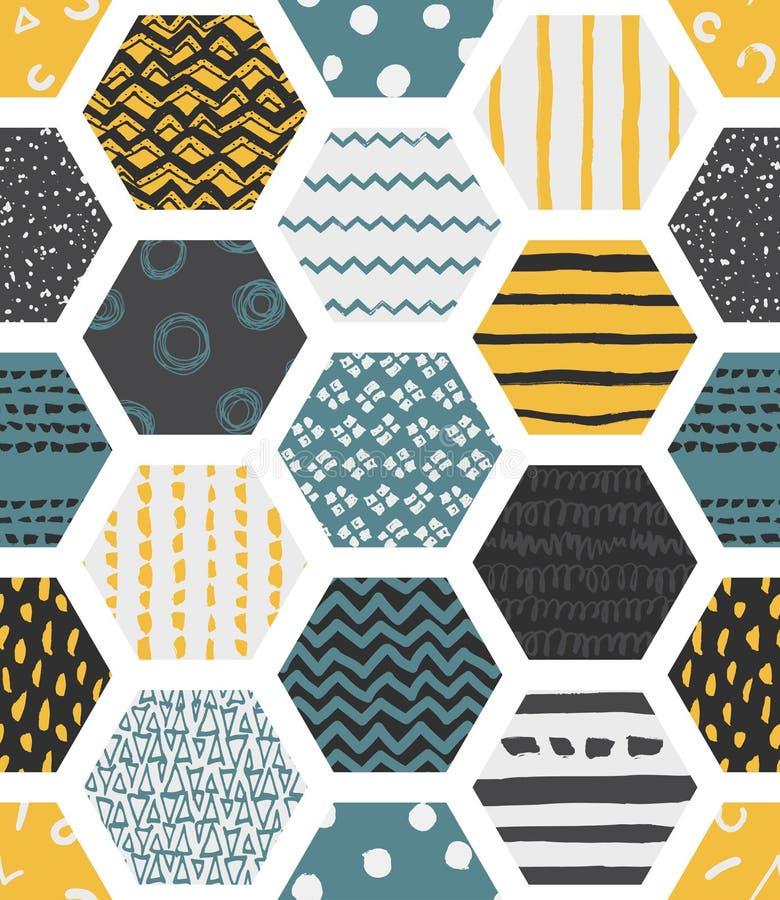 Modèles sans couture colorés avec des nids d'abeilles illustration stock