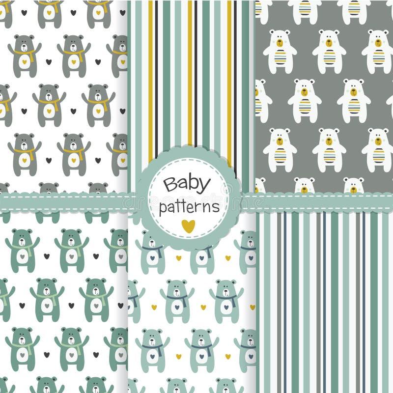 Modèles sans couture de bébé garçon réglés avec des ours illustration libre de droits