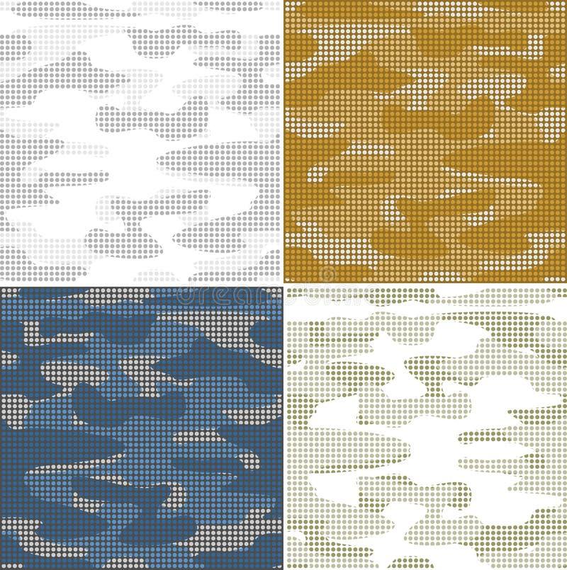 Modèles sans couture de camouflage de Digital - ensemble de vecteur illustration stock