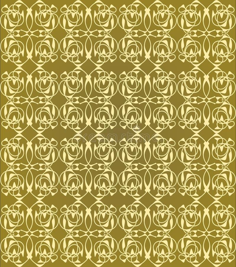 Modèles sans couture de cru sur le fond d'or Ornement fin de brocard Modèles de textile luxueux ou de papier d'emballage illustration stock