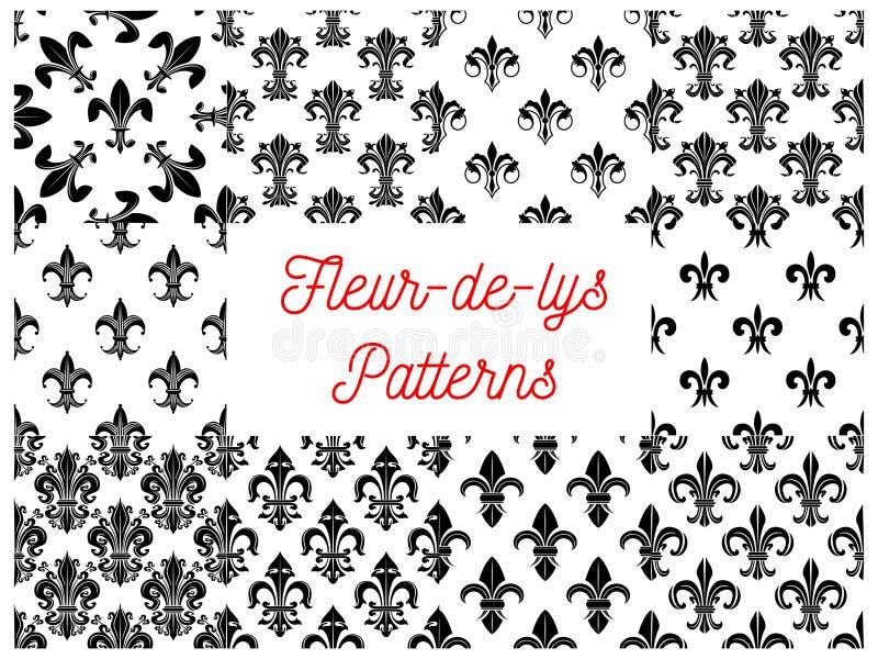 Modèles sans couture de fleur de lis française royale de lis illustration de vecteur
