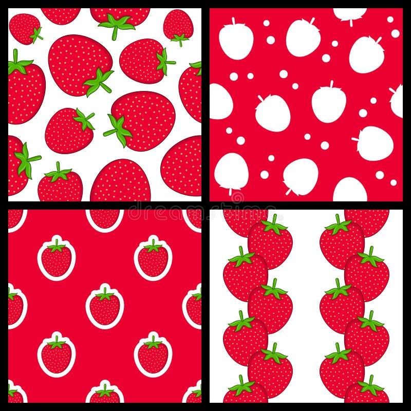 Modèles sans couture de fraise réglés illustration libre de droits