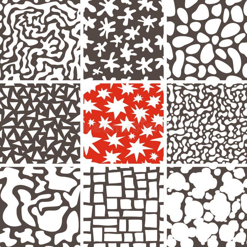 Modèles sans couture de griffonnage abstrait réglés illustration libre de droits
