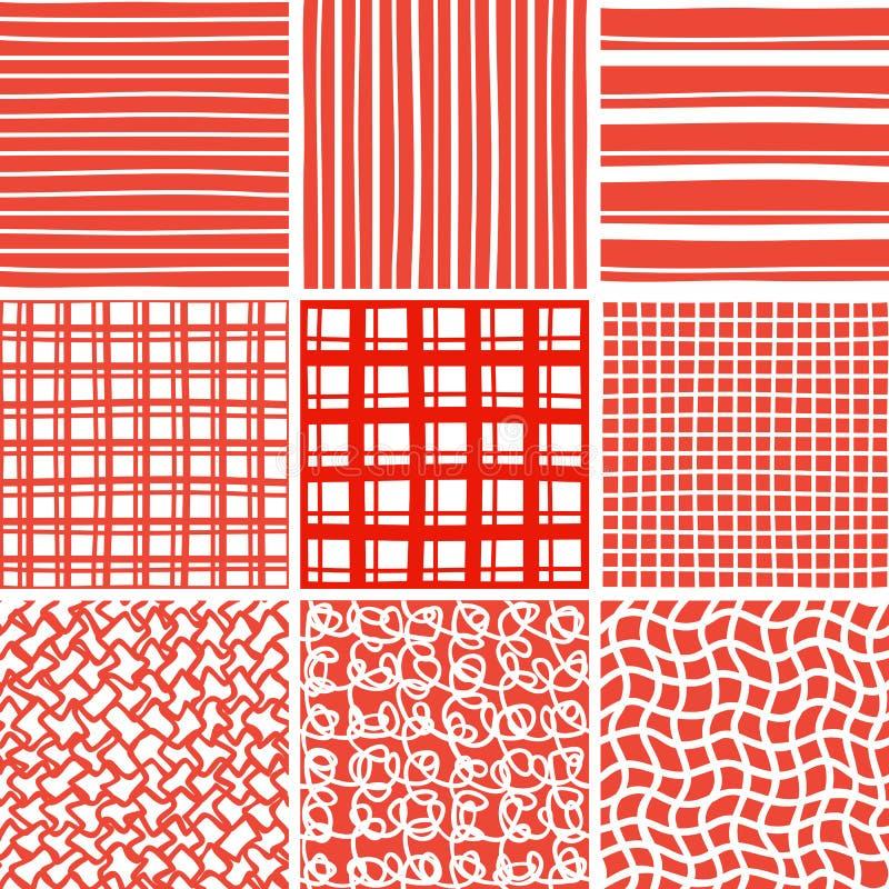 Modèles sans couture de griffonnage abstrait réglés illustration stock