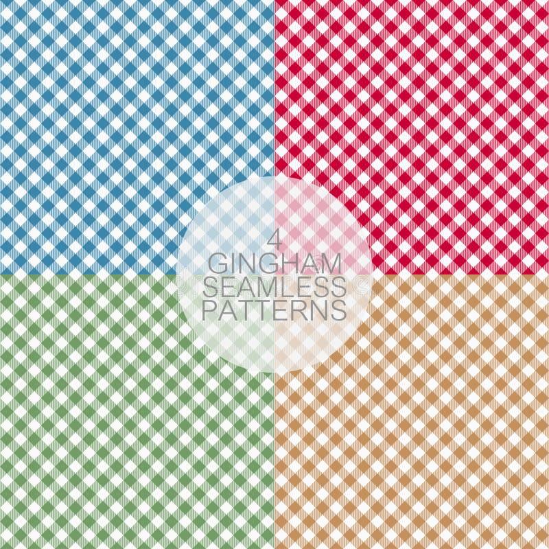Modèles sans couture de guingan Ensemble de nappes texture, fond de plaid Graphiques de typographie pour la chemise, vêtements illustration libre de droits