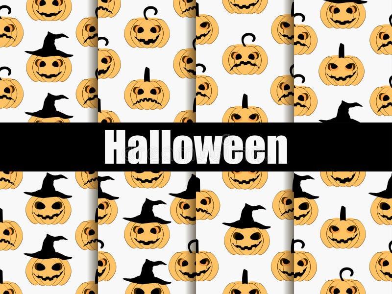 Modèles sans couture de Halloween réglés Visages effrayants, icône de potiron de cric-o-lanterne Vecteur illustration de vecteur