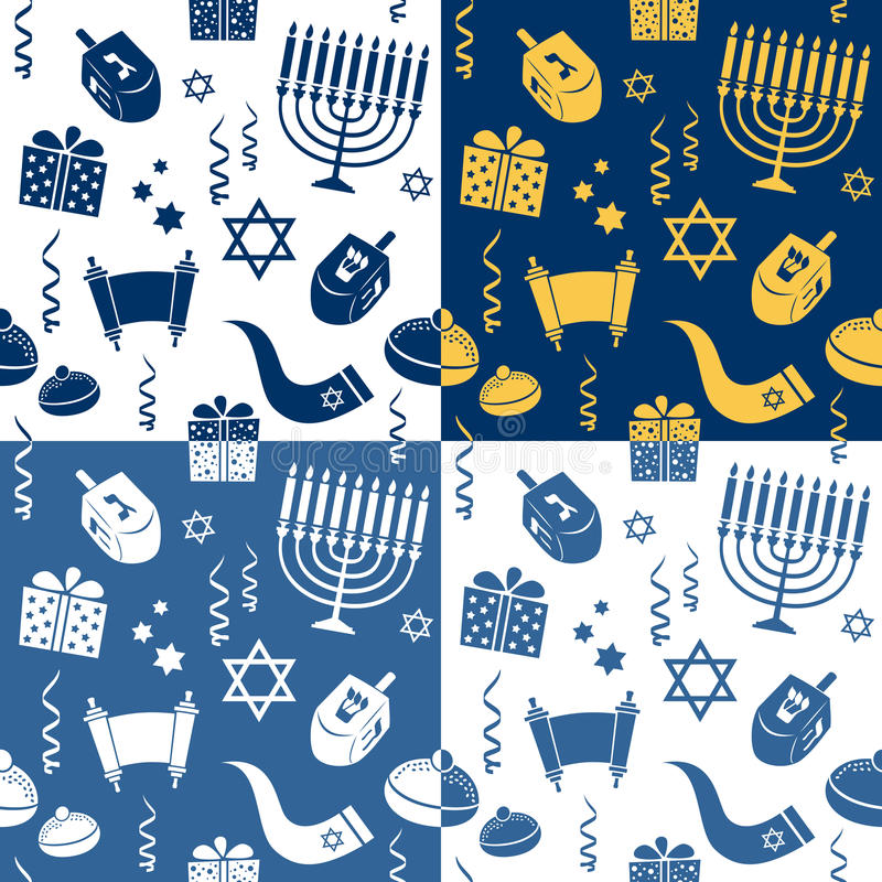 Modèles sans couture de Hanoucca illustration stock