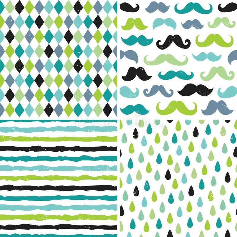 Modèles sans couture de hippie dans les bleus et les verts illustration stock
