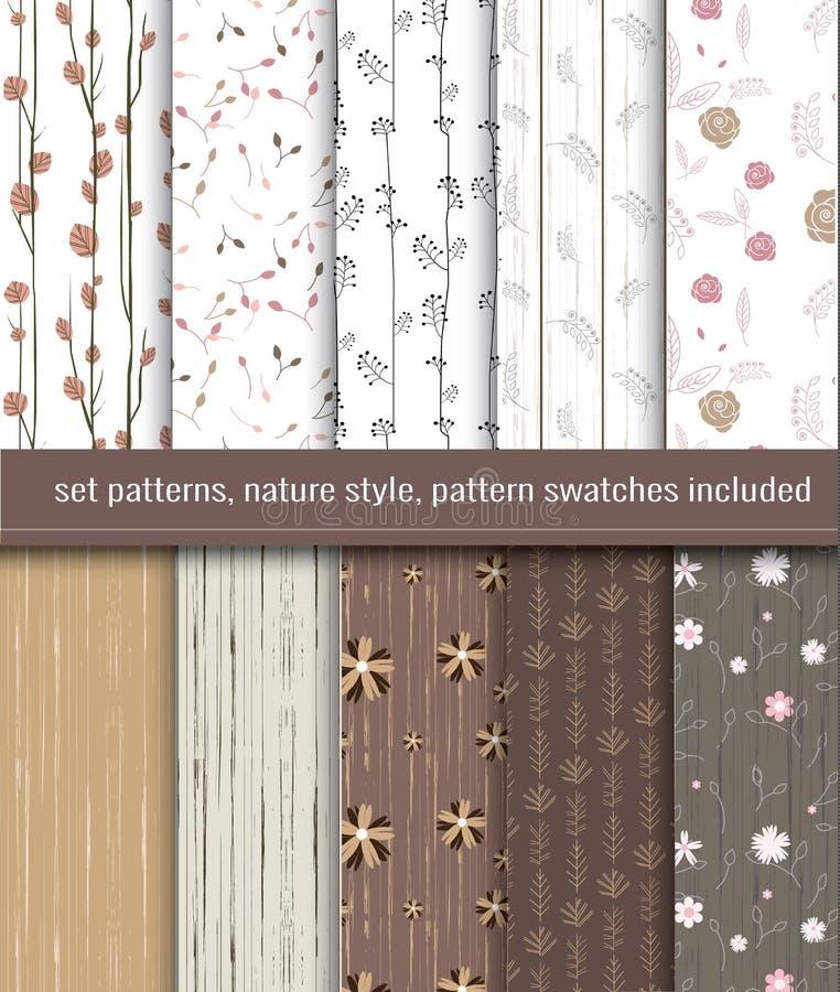 Modèles sans couture de nature illustration stock