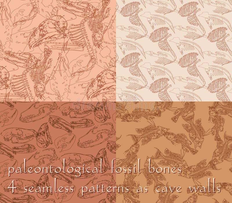 Modèles sans couture de paléontologie avec des os illustration de vecteur