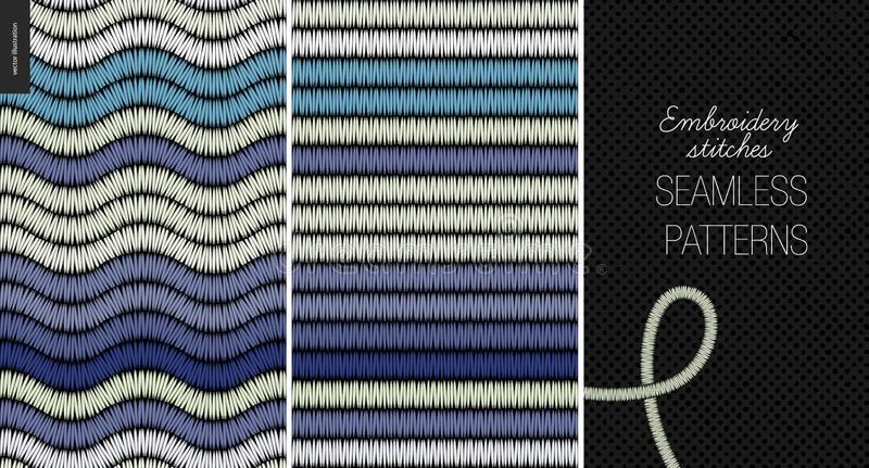 Modèles sans couture de point de satin de broderie illustration de vecteur