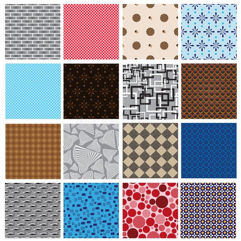 16 modèles sans couture de rétro couleur simple illustration de vecteur
