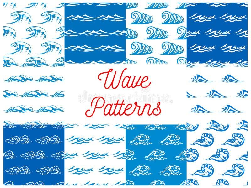 Modèles sans couture de ressacs bleus et blancs réglés illustration stock