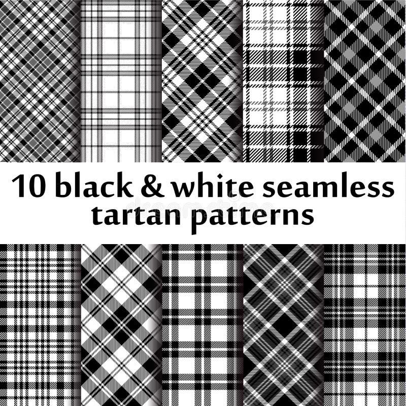 10 modèles sans couture de tartan de b&w illustration libre de droits
