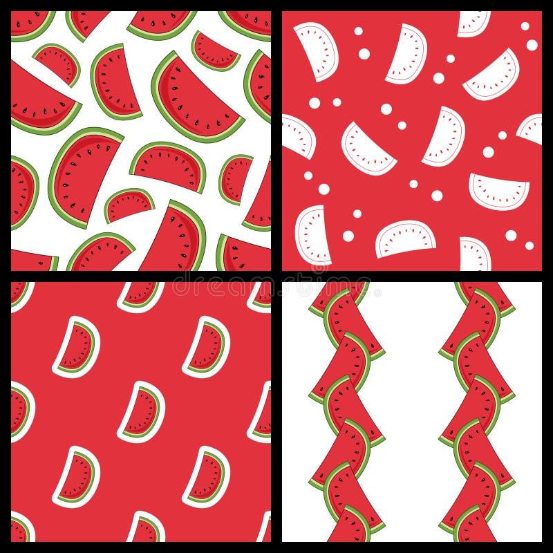 Modèles sans couture de tranche de pastèque réglés illustration stock