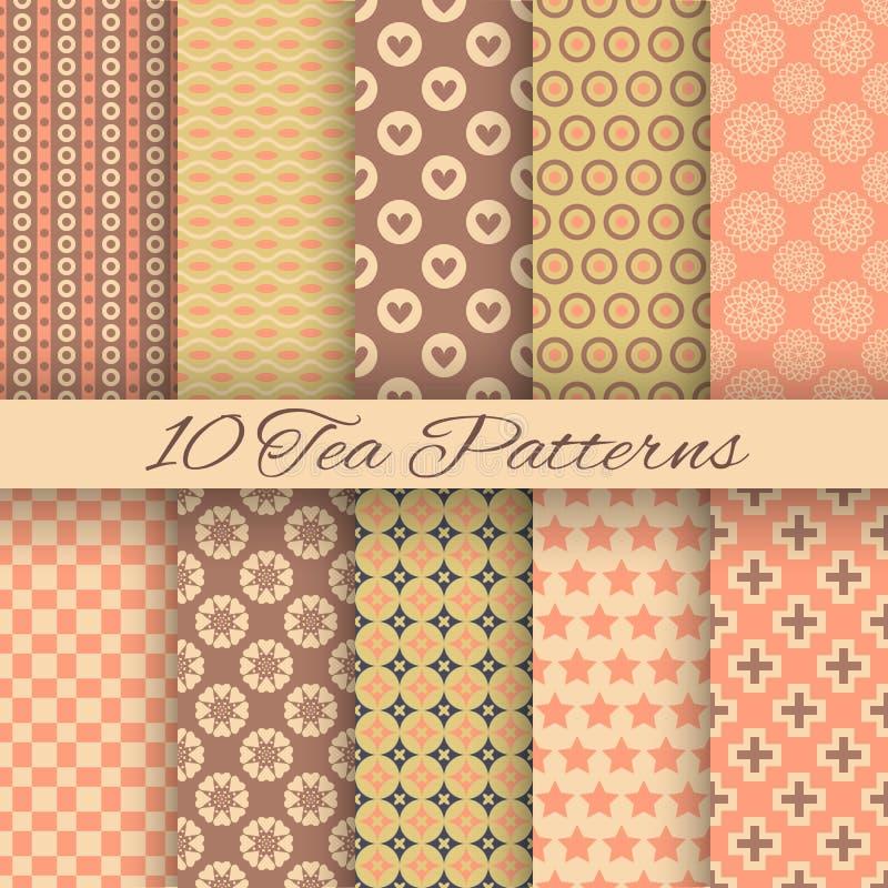 Modèles sans couture de vecteur abstrait de thé (carrelage, illustration stock