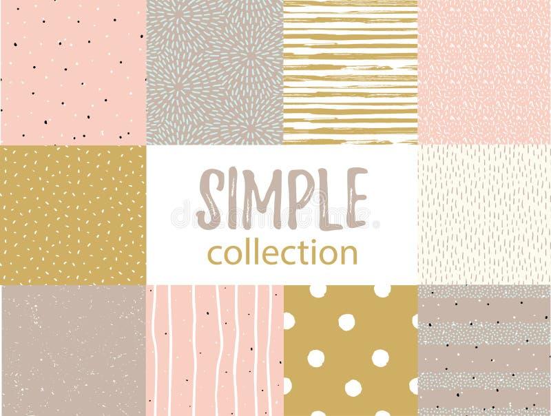 Modèles sans couture de vecteur avec des textures simples universelles Placez pour le tissu, le papier cadeau et le papier peint images stock
