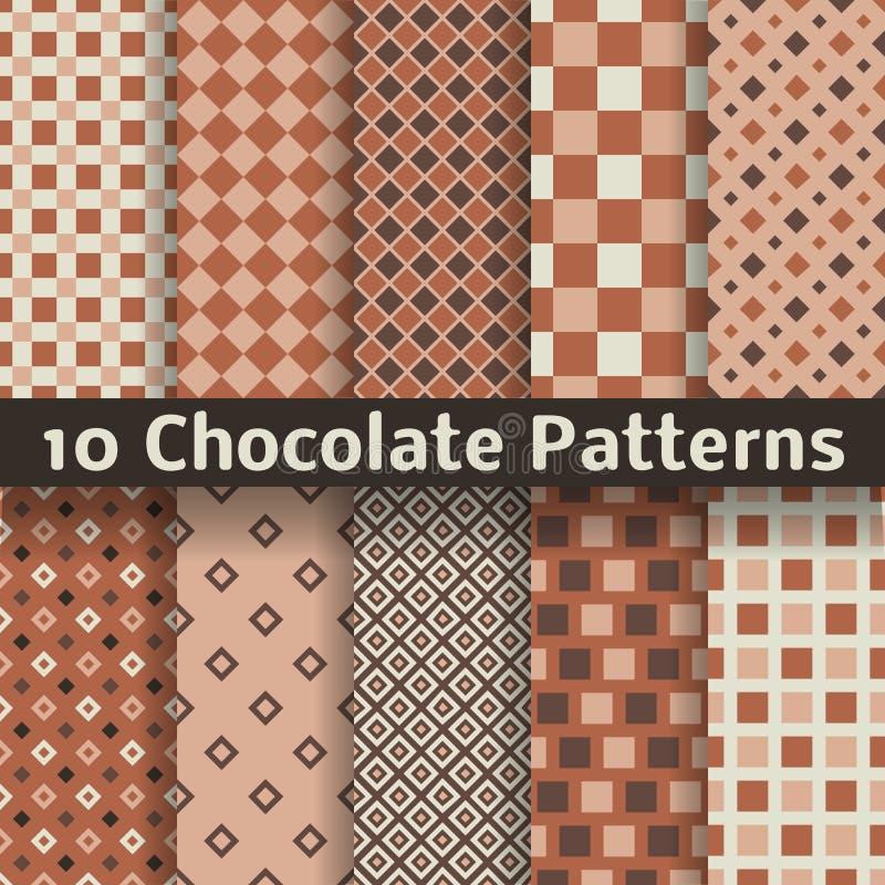 Modèles sans couture de vecteur de chocolat (carrelage). illustration stock